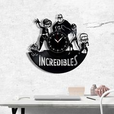 The Incredibles Vinyl Record Clock - The Incredibles wall clock - Best Gift for Fans Superheroes - Original Gift for Wall Decor Vinyl Record Clock, Vinyl Records, Gift Guide, Best Gifts, Gifts For Her, Vinyl Gifts, Gift Wrapping, Wall Decor, The Incredibles