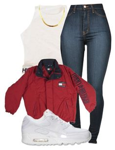 """""""TOMMY HILFIGER"""" by champangemamii ❤ liked on Polyvore featuring NIKE, women's clothing, women, female, woman, misses and juniors"""