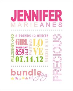 Personalized Baby Girl's Nursery Birth Announcement Wall Art Decor Pink