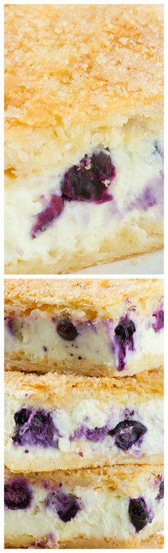 Sopapilla Blueberry Cheesecake Bars ~ Easy and delicious... Yummy layers of crescent rolls, cream cheese and crunchy buttery sugar topping with fresh blueberries
