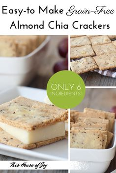 Easy-to-make grain-free almond chia crackers // This House of Joy