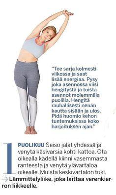 Joogaopettaja Jenni Kauppila näyttää lempeän ja herättävän 7 liikkeen joogasarjan, jolla vetreytät lihakset yöunien, istumisen tai treenin jälkeen.... Keeping Healthy, Hiit, Fitness Motivation, Exercise Motivation, Pilates, Feel Good, Healthy Lifestyle, Health Fitness, Hair Beauty