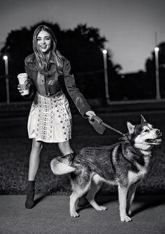 Miranda Kerr with dog on Tatler Russia October 2015 Photoshoot