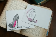 Girlfriend Collection Hand Drawn Notecards by HandmadeDarling, $16.00