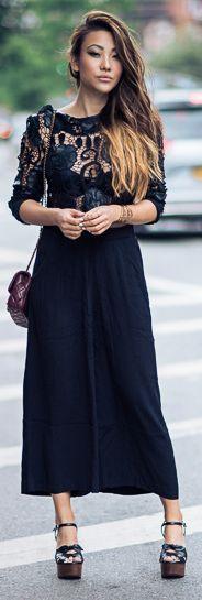 Not Jess Fashion Black Crochet Details Maxi Dress