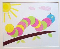 Baby Girl Room Decor, Kids Room Decor, Nursery Art, Kids Wall Art, Children's Room Decor, Colorful Caterpillar, 8x10 Print