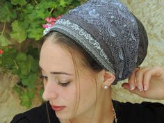 Sparkling Classic Gray tichel,Hair Snood, Head Scarf,Head Covering,jewish headcovering,Scarf,Bandana,apron
