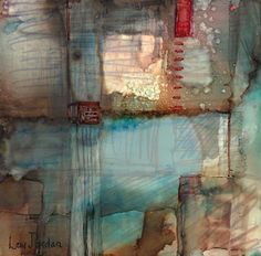 """Stitch"" Original Contemporary Abstract Mixed Media, Alcohol Ink Painting by Contemporary New Orleans Artist Lou Jordan-Available"