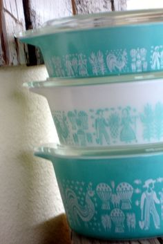 Vintage Pyrex Cinderella Butterprint Turquoise - found two pieces in the dw house