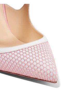 Christian Louboutin - Crissos Suede-trimmed Fishnet And Patent-leather Pumps - White - IT38.5