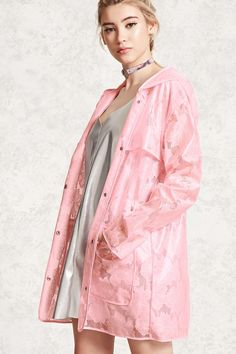 I want a cute clear raincoat so bad and this one is pink too???? It's perfect