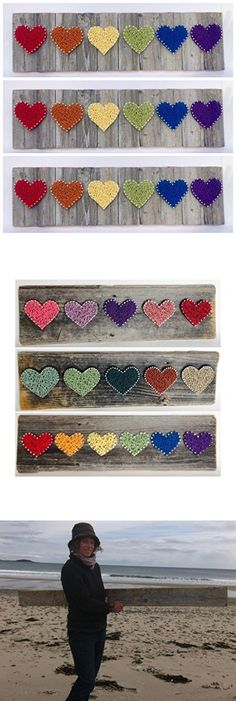Rainbow reclaimed wooden string art hearts sign- A unique Wedding, Anniversary, Birthday, Valentine's Day, Gay Pride, Christmas, new baby and house warming gift.