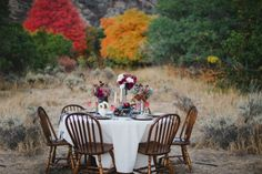 Fall Tablescape in the Woods   photography by http://www.raeportraits.com/ and http://etrephotography.blogspot.com/