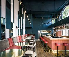 Designed by Framework Studio, Waldeck bar in Amsterdam features many of the classic hospitality materials and colours applied in an unexpected way. Modern Restaurant, Restaurant Interior Design, Commercial Interior Design, Commercial Interiors, Modern Interior Design, Interior Architecture, Restaurant Restaurant, Industrial Restaurant, Luxury Restaurant