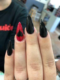 Hippie Nails, Goth Nails, Edgy Nails, Grunge Nails, Stylish Nails, Swag Nails, Red Black Nails, Black Almond Nails, Black Stiletto Nails