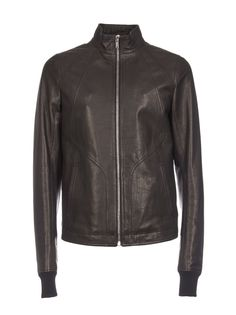 Rick Owens Fitted Leather Jacket In Black Suede Leather, Leather Jacket, Rick Owens Men, Mens Fashion, Long Sleeve, Fitness, Sleeves, Cotton, Jackets