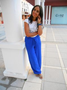 inspiration, palazzo pant, blue, t-shirt, girl, summer, outfit, ootd, look, ideas
