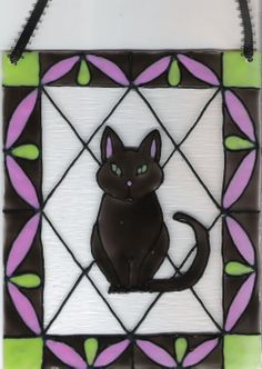 Black Cat Hand Crafted Home Decor Stained by KimRoseColoredGlass, $15.00