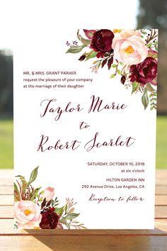 Marsala Wedding Invitation Set, Burgundy Blush Wedding Invites, Bohemian Wedding Invitations, Floral Wedding, Fall Wedding Invitation, Winter Wedding, Watercolor Florals, Wine Marsala Burgundy Blush