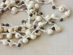 Cream and Brown Long Necklace  Boho Jewelry  Summer  by beadedwire