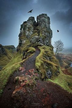 The Fairy Glen is located in the hills above the village of Uig on the Isle of Skye in Scotland. A strange landscape created by a landslip.