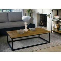 FACTO Table basse style industriel plateau plaqué chêne vernis et pieds en métal laqué époxy noir - L 110 x l 60 cm