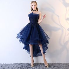 Fleepmart Robe De Soriee Navy Blue Lace up Strapless Short Front Long Back Elegant Evening Dress with Appliques Formal Prom Party Dress