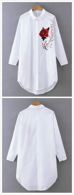 Women's Long Sleeve Floral Embroidery Button Down Casual Shirt