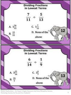 Fractions Division Math Center Task Cards Fun Dividing Fractions