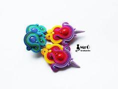 Rainbow soutache. Colorful earrings soutache !orecchini soutache, orecchini arcobaleno, boucles d'oreilles soutache,