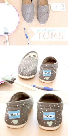 How to paint your TOMS or any canvas shoes #DIY | Hey Love Designs