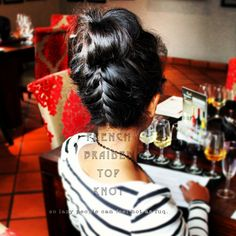 upside down french braided top knot
