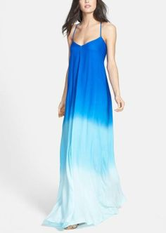 Pretty and summer ready! Can't get enough of this blue ombré maxi dress.