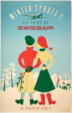 Very scarce Original Vintage Poster issued by Swissair targeting foreign clients, linking its brand with the many ski resorts in Switzerland –design by Elli Sieber, linocut, ca. 1950 Ski Resorts, Winter Sports, Vintage Posters, Switzerland, Events, The Originals, News, Artwork, Design