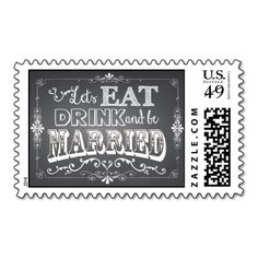 Chalkboard Eat, Drink and be Married Postage