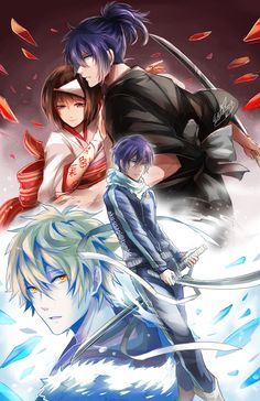 Im Vordergrund, Yato zusammen mit Yukine  Im Hintergrund, Yato's Vergangenheit als Yaboku den Kriegsgott und zusammen mit dem Shinke Hiiro einer Nora