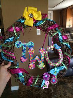 Birdie birthday wreath...homemade!