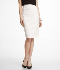 Off-White Pencil Skirt by Express #currentlyobsessed #thetinyprofessional