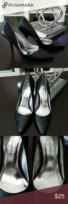Black pumps Very sexy 4 inch heel. Worn once....some peeling inside, not visible when worn (see pic #3) Jessica Simpson Shoes Heels