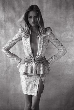 Anita Ligic in jacket and skirt by Zuhair Murad