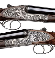 thesportinggunblog:  A Holland and Holland side by side shotgun, sporting double triggers and complex scroll engraving with bowmen on either action plate.      (via TumbleOn)