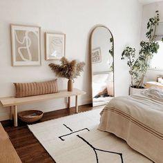 Dream Bedroom, Home Bedroom, Bench In Bedroom, Warm Bedroom, Bed Room, Mirror In Bedroom, Bedroom Neutral, Bedroom Inspo, Bright Bedroom Ideas