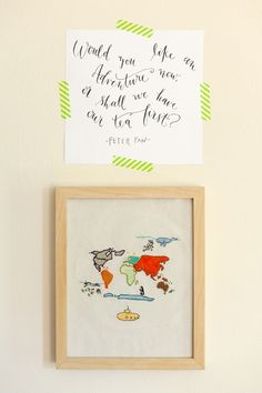 calligraphy print by katherine holly, peter pan quote, calligraphy print for children's room