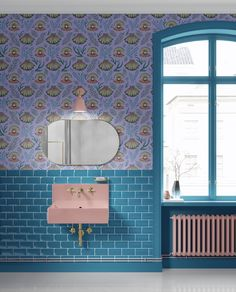 Catherine Rowe Designs Shell with Pearl Pattern in Lilac Wallpaper Pearl Wallpaper, Bathroom Wallpaper, Unique Wallpaper, Beautiful Wallpaper, Wallpaper Ideas, Tongue And Groove Walls, Victorian Townhouse, Terrazzo Tile, Large Format Tile