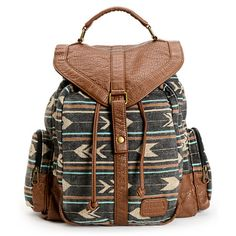 Make sure you're ready for Back to School with all your essentials in one stylish place with the Billabong Campfire Dayz Black stripe backpack for girls. Coming in a Black, Beige, Brown and Mint striped design, this rucksack backpack features brown synthe