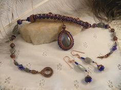 Antique Copper Viking Knit with Cobalt Crystals and by talpal2