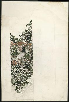 Bird series-3:'Bird and Vine'. Design for a woven textile. British, c.1880s.