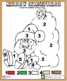 Color By Number Santa Claus Christmas Worksheets, Teacher Worksheets, Kindergarten Worksheets, Worksheets For Kids, Christmas Color By Number, Christmas Colors, Noel Christmas, Christmas Projects, Activity Pages For Kids Free Printables