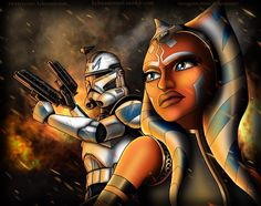 """kyleeann1996: """" Always By Your Side. A Clone Wars style of Ahsoka and Rex during the Siege of Mandalore. I had a lot of fun doing this :) I was going to do a more realistic one but I wanted to step out side of the box and draw a Clone Wars Animation..."""