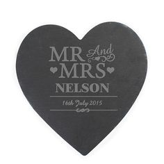 Personalised Mr & Mrs Slate Heart Placemat #kitchengiftco
